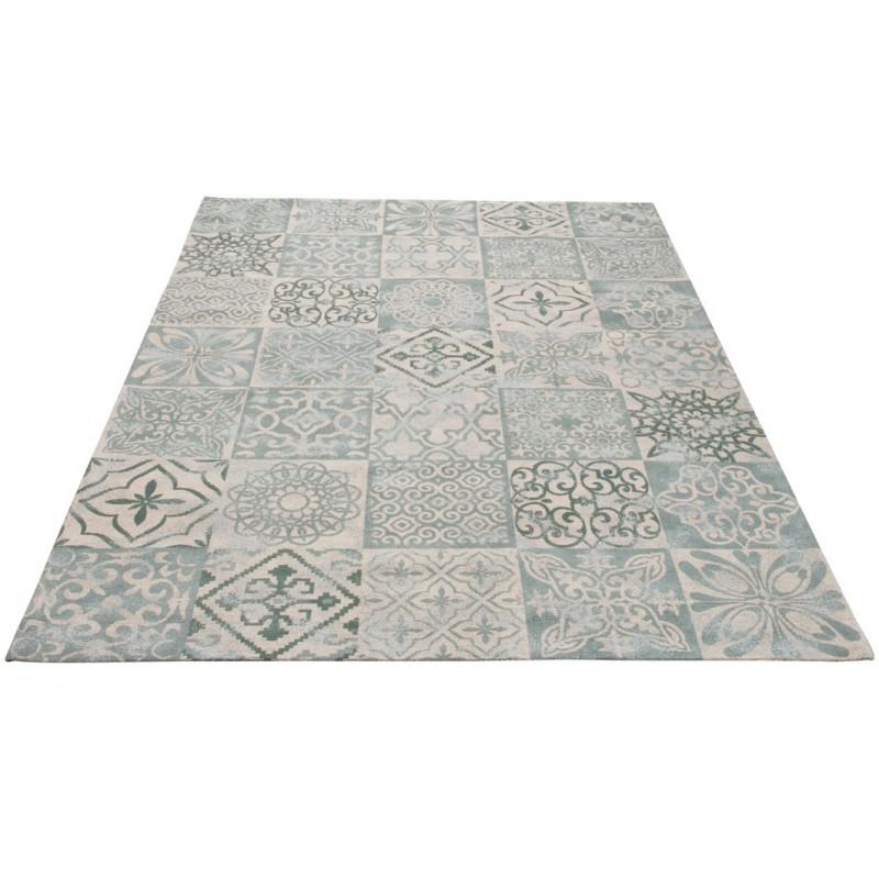 tapis chenille coton gris bleu. Black Bedroom Furniture Sets. Home Design Ideas