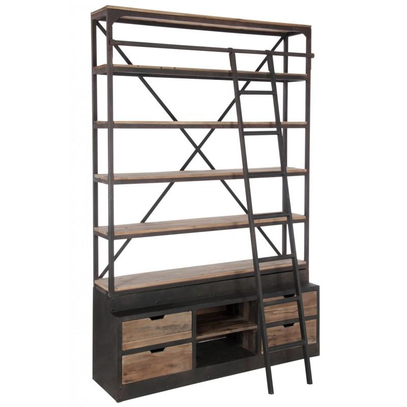 bibliotheque echelle bois metal. Black Bedroom Furniture Sets. Home Design Ideas