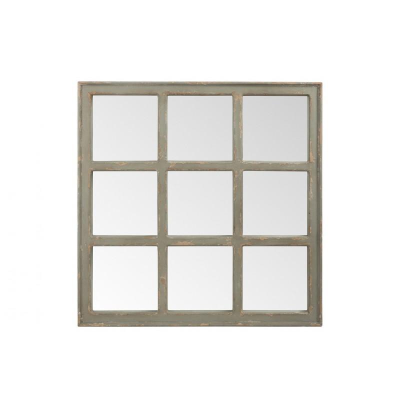 Miroir carre bois gris 97x4x97cm for Miroir bois gris