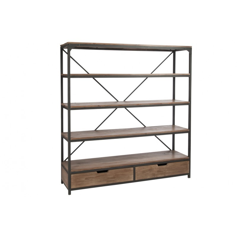 etagere 2 tiroirs bois metal. Black Bedroom Furniture Sets. Home Design Ideas