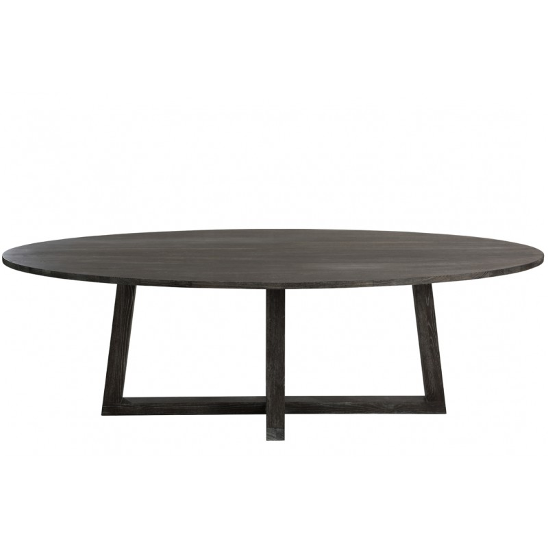 Table ovale bois brun fonce for Grande table ovale